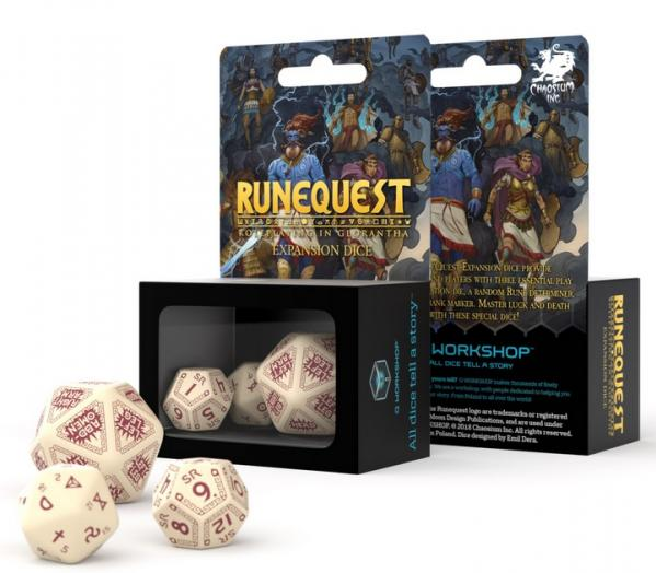 RuneQuest Beige & Burgundy Expansion Dice Set
