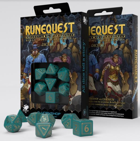 RuneQuest Turquoise & Gold Dice Set