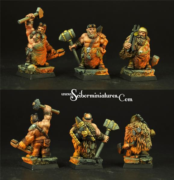 Scibor Monstrous Miniatures: Dwarf Blacksmiths (3)