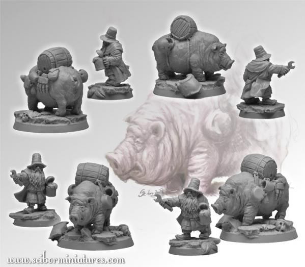 Scibor Monstrous Miniatures: Fantasy Football: Dwarven Medic & Pig Ambulance