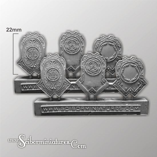 Scibor Monstrous Miniatures: Dwarven Veterans Shields Set 2