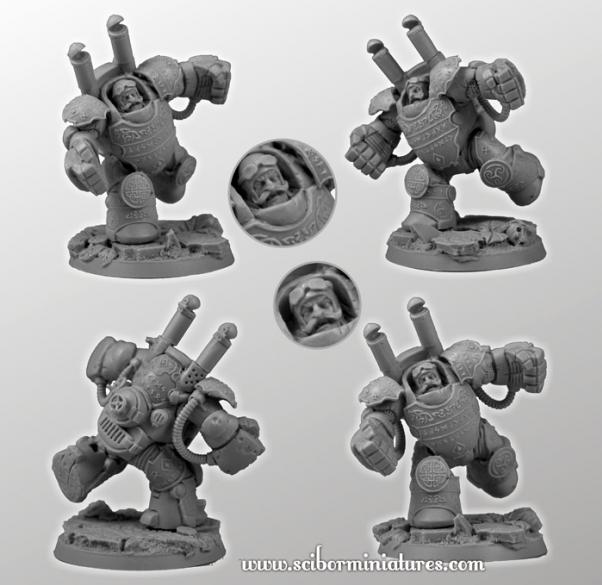 Scibor Monstrous Miniatures: Fantasy Football: Dwarf Player Heavy Steam Armor