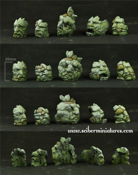 Scibor Monstrous Miniatures: Stone Heads Basing Kit #2