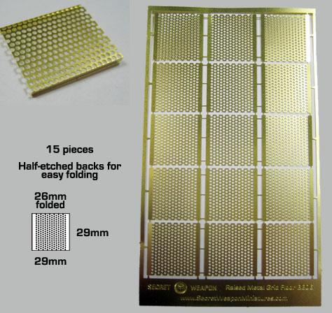 Secret Weapon Miniatures: Photo Etched Brass: Raised Metal Grid Flooring