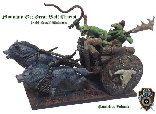 Shieldwolf Miniatures: Mountain Orcs Great Wolf Chariot