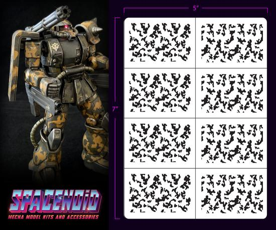 Spacenoid Airbrush Mecha Stencil: 1/144 Traditional Camo