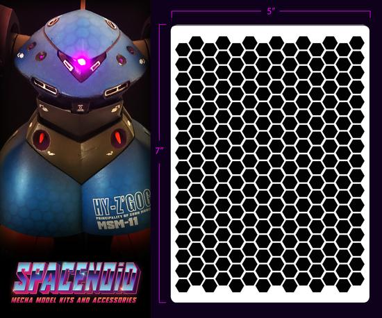 Spacenoid Airbrush Mecha Stencil: Hex Mesh (Large)