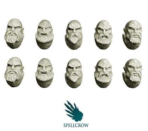 Spellcrow Conversion Bits: Space Knights Heads with Beards