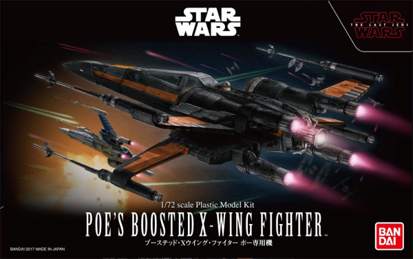 Star Wars Bandai Model Kit: Poes Boosted X-Wing Fighter (1/72)