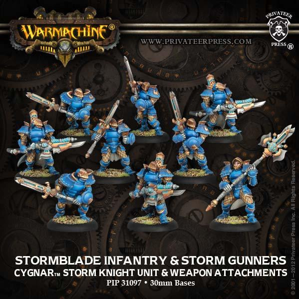 Warmachine: Cygnar (31097): Stormblade Infantry & Storm Gunners: Storm Knight Unit & Weapon Attachments