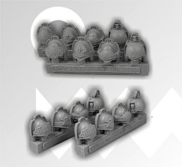 Scibor Monstrous Miniatures: Templar Shoulder Pads (8)