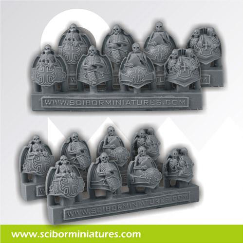 Scibor Monstrous Miniatures: Templar Skeleton Shoulder Pads (8)
