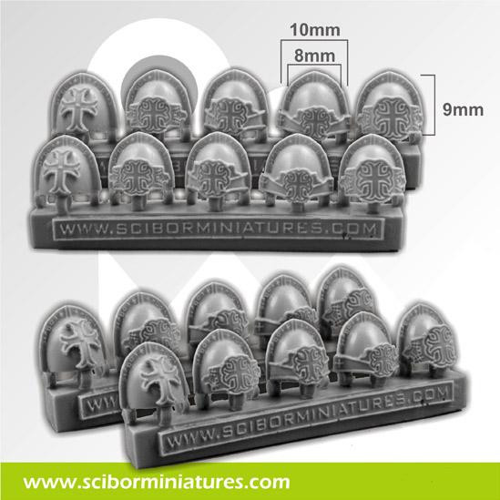 Scibor Monstrous Miniatures: Templar Small Shoulder Pads (10)