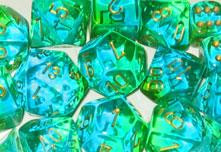 Chessex (26838): D6: 12mm: Gemini: Translucent Green Teal/Gold