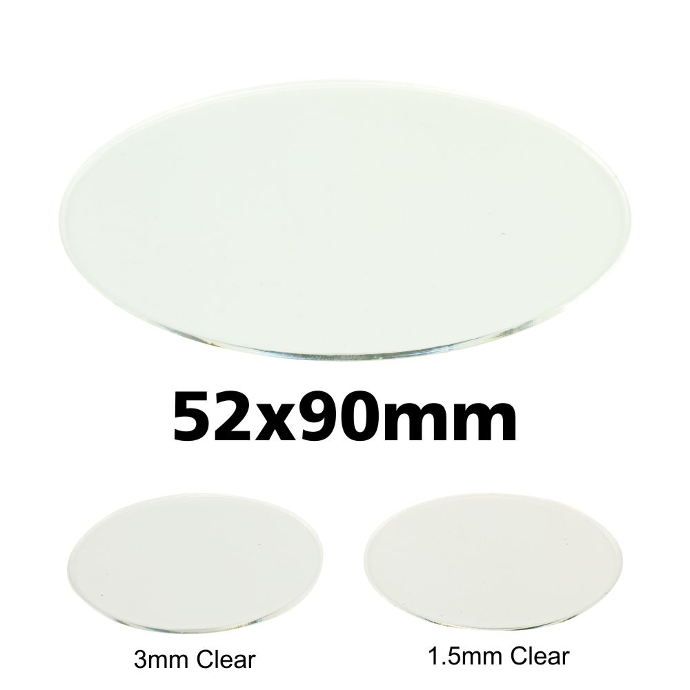 Transparent Bases: Oval 52x90mm (1.5mm Thick): 3 Pack