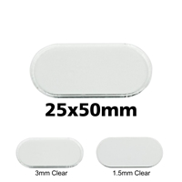 Transparent Bases: Pill 25x50mm (1.5mm Thick): 50 Pack