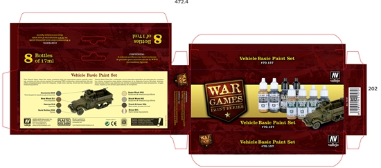 Vallejo Paints - Vallejo Model Colors Set- 70157 Vehicle Basics