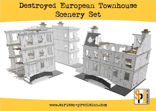 Warlord Games: Destroyed European Townhouse Scenery Set