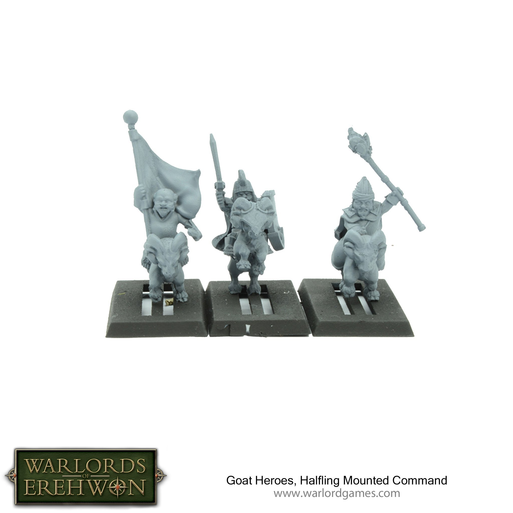 Warlords of Erehwon: Halfling Goat Rider Heroes and Command