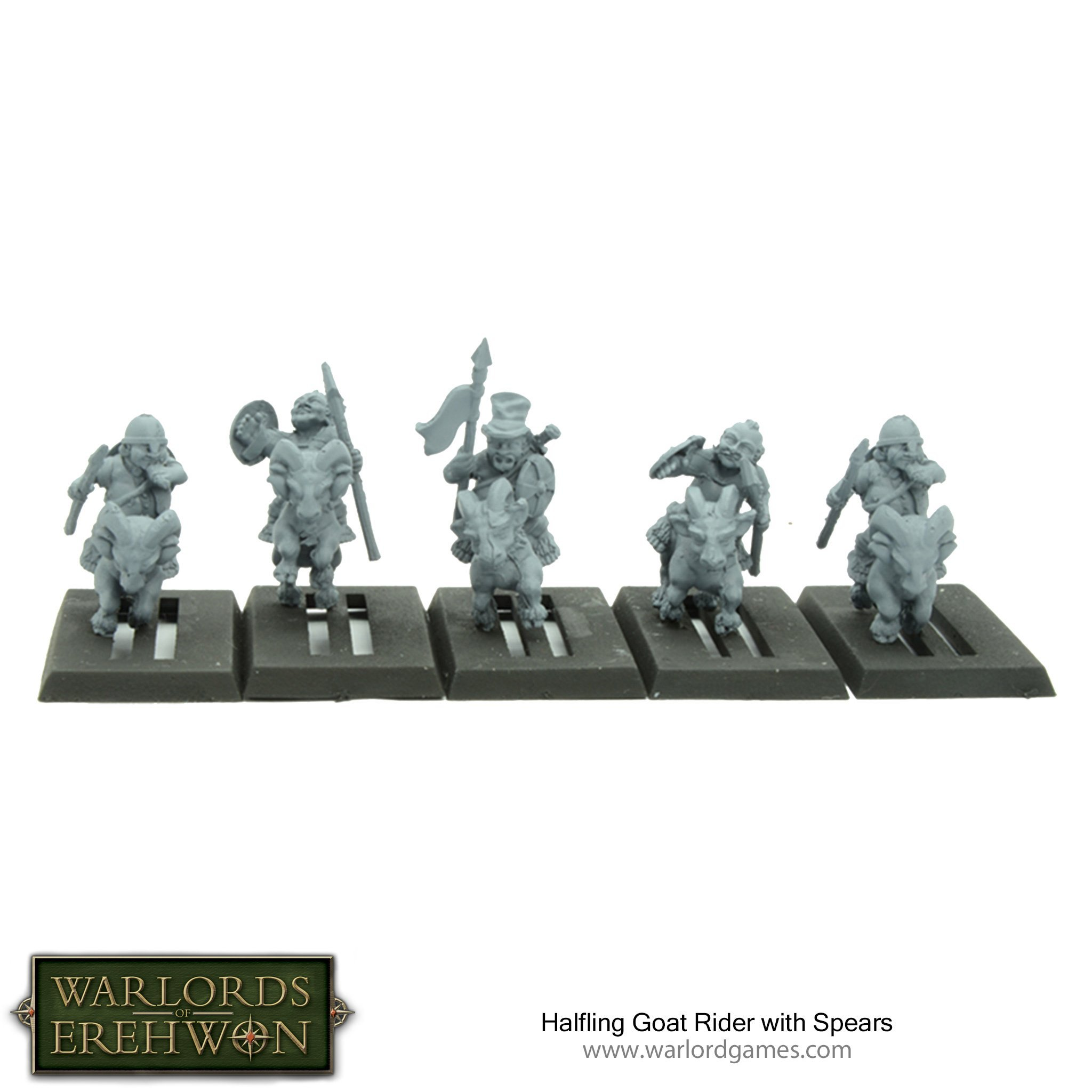 Warlords of Erehwon: Halfling Goat Riders with Spears