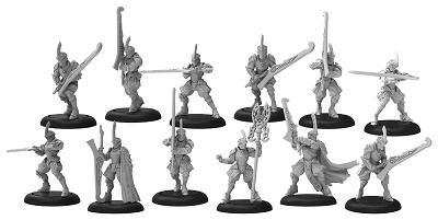 Warmachine: Retribution Of Scyrah (35077): House Ellowuyr Swordsmen with Officer and Standard Unit [SALE]