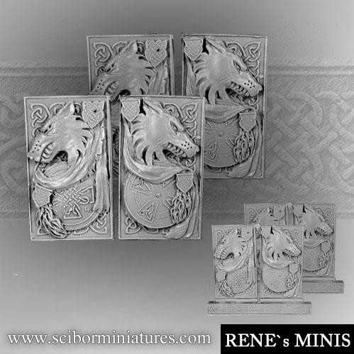 Scibor Monstrous Miniatures: Wolf Decorated Plates set 1 (4)