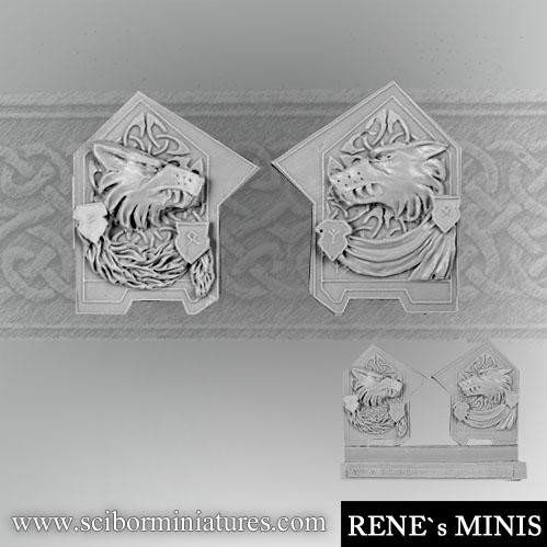 Scibor Monstrous Miniatures: Wolf Decorated Plates set 2 (2)