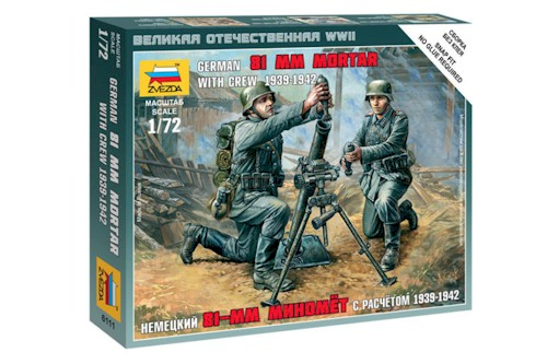 Zvezda Military 1/72 Scale: Snap Kit: German 81-mm Mortar with Crew 1939-1942