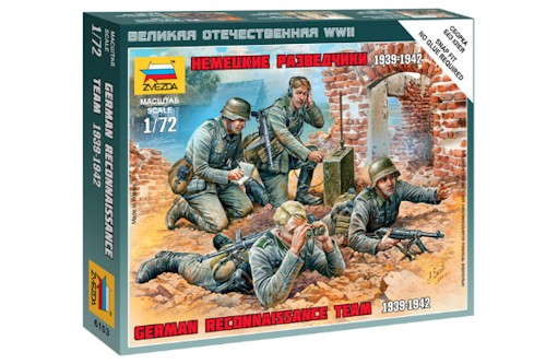 Zvezda Military 1/72 Scale: Snap Kit: German Reconnaissance Team 1939-1942