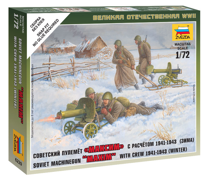 Zvezda Military 1/72 Scale: Soviet Machine-gun With Crew (Winter Uniform)