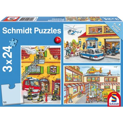 Schmidt Spiele Puzzle: Fire Brigade and Police (3x24)