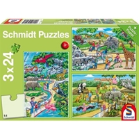 Schmidt Spiele Puzzle: A Day at the Zoo (3x24)