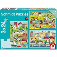 Schmidt Spiele Puzzle: Colourful World of Vehicles (3x24)