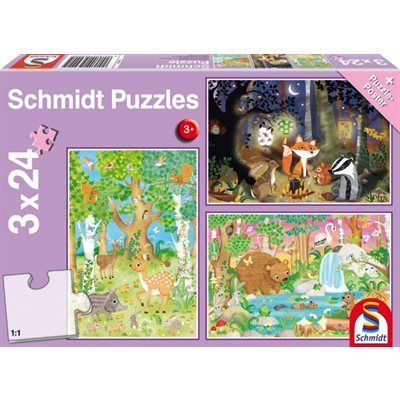 Schmidt Spiele Puzzle: Animals of the Forest (3x24)