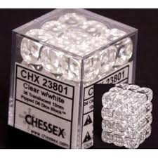 Chessex (23801): D6: 12mm: Translucent: Clear/White
