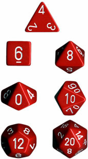 Chessex (25404): Polyhedral 7-Die Set: Opaque: Red/White