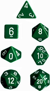 Chessex (25405): Polyhedral 7-Die Set: Opaque: Green/White