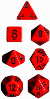 Chessex (25414): Polyhedral 7-Die Set: Opaque: Red/Black