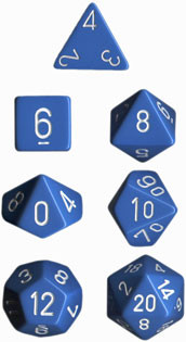 Chessex (25416): Polyhedral 7-Die Set: Opaque: Light Blue/White
