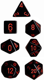 Chessex (25418): Polyhedral 7-Die Set: Opaque: Black/Red