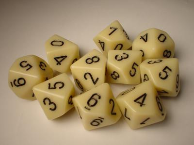 Chessex (26200): D10: Opaque: Ivory/Black