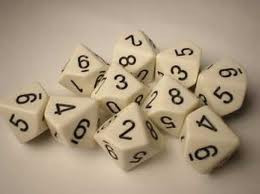 Chessex (26201): D10: Opaque: White/Black