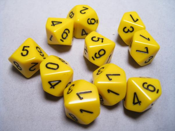 Chessex (26202): D10: Opaque: Yellow/Black