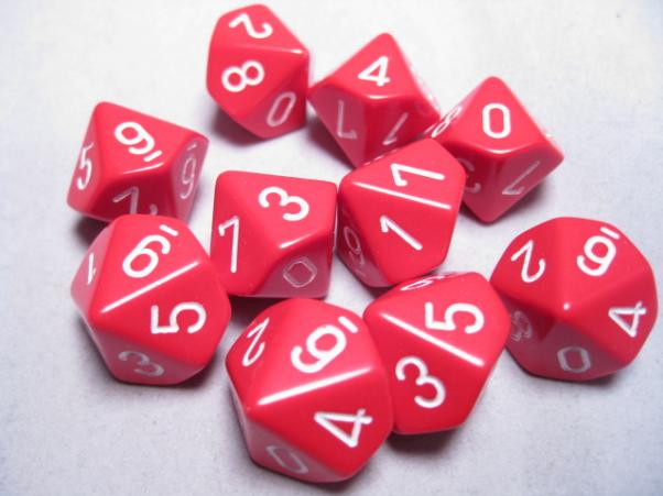 Chessex (26204): D10: Opaque: Red/White