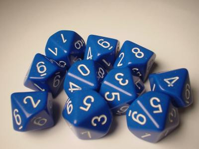 Chessex (26206): D10: Opaque: Blue/White