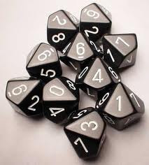 Chessex (26208): D10: Opaque: Black/White