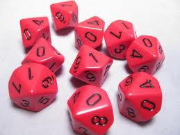 Chessex (26214): D10: Opaque: Red/Black