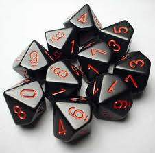 Chessex (26218): D10: Opaque: Black/Red