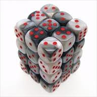 Chessex (26821): D6: 12mm: Gemini: Black White/Red