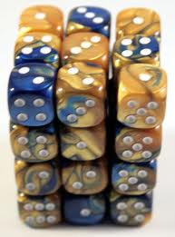 Chessex (26822): D6: 12mm: Gemini: Blue Gold/White